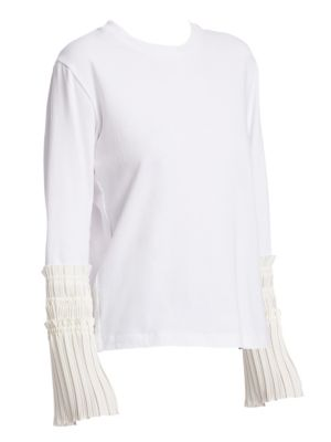 Cotton Pleated Cuffs Tee