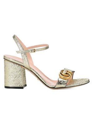 GUCCI Metallic-Leather Block Heel Sandals