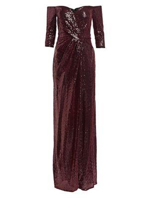 RENE RUIZ Sequined Column Gown in Ruby