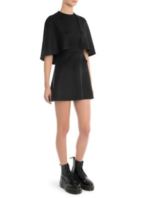 CAPE-EFFECT WOOL-BLEND TWILL MINI DRESS