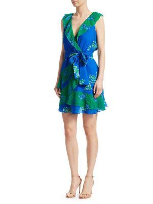 Graphic Floral-Print A-Line Wrap Dress