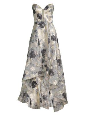 BASIX BLACK LABEL Off-The-Shoulder High-Low Print Gown