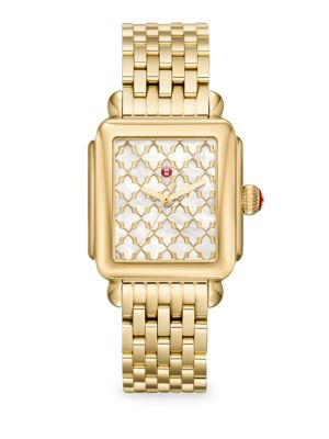 MICHELE WATCHES Deco Gold Mosaic Dial Watch