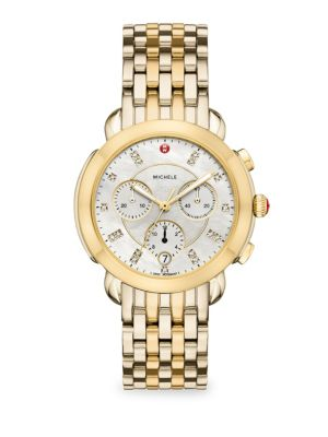 MICHELE WATCHES Sidney Two-Tone Diamond Dial Watch