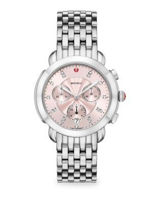 MICHELE WATCHES Sidney Stainless Steel & Blush Diamond Dial Watch