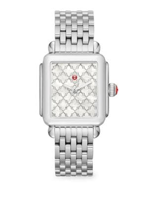 MICHELE WATCHES Deco Stainless Steel Mosaic Dial Watch