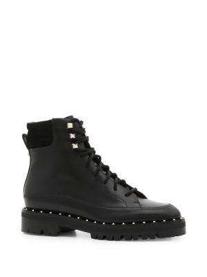 Leather Rockstud Combat Boots