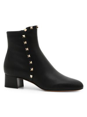 Leather Rockstud Booties