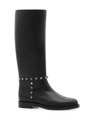 Tall Leather Rockstud Boots