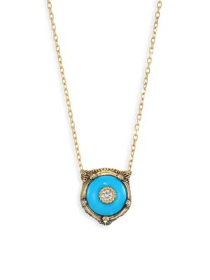 Le Marche Des Merveilles 18K Yellow Gold Feline Head Turquoise & Diamond Pendant Necklace