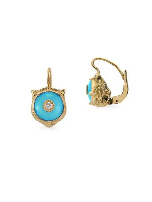 Le Marche Des Merveilles 18K Yellow Gold Feline Head Turquoise & Diamond Drop Earrings