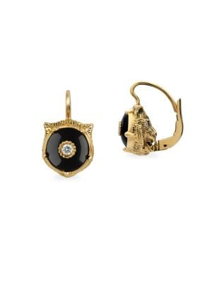 Le Marche Des Merveilles 18K Yellow Gold Feline Head Onyx & Diamond Drop Earrings