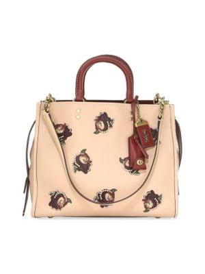 Rose Appliqué Leather Satchel