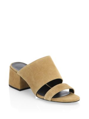 Cube Double Strap Suede Mules