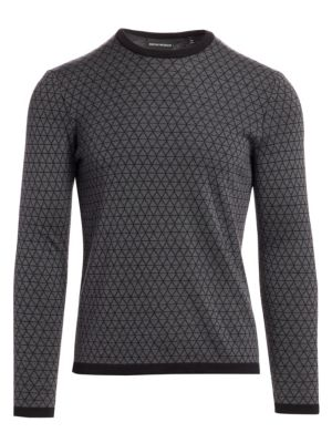 Bi-Color Geometric Jacquard Wool Sweater