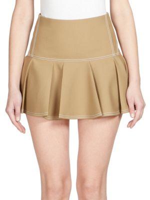 Silk Pleated Mini Skirt
