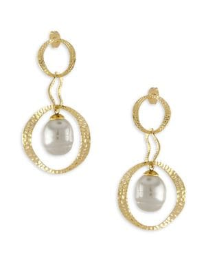 Artisian Hammered Gold & Pearl Drop Earrings