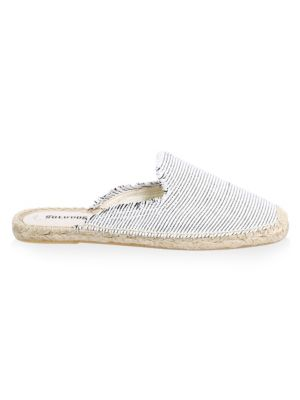 Frayed Canvas Mules