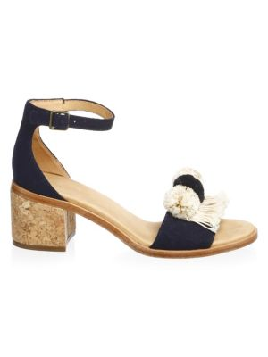 Pom-Poms Block Heel Sandals