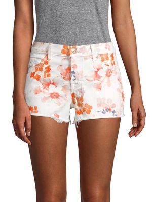 Floral Cut-Off Denim Shorts