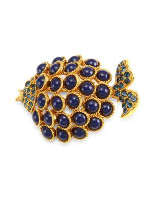 Cabochon Crystal & Bead Fish Brooch