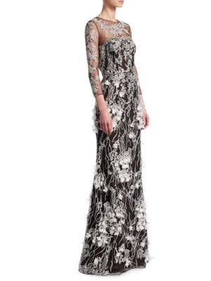Floral Long-Sleeve Sheer Gown