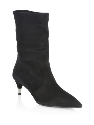 Suede Point-Toe Booties