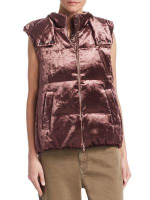 Velvet Hooded Puffer Vest