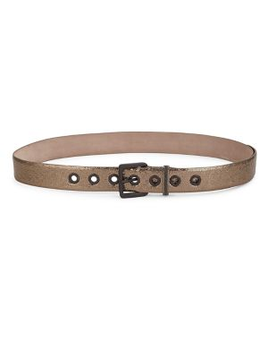Cracked Metallic Leather Belt