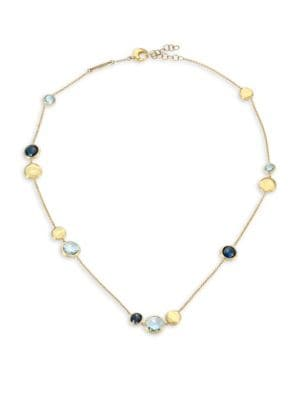 MARCO BICEGO 18K Yellow Gold & Blue Topaz Station Necklace
