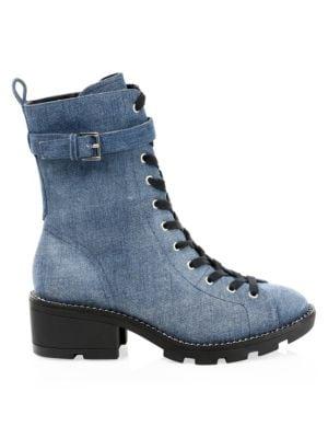 Denim Combat Boots