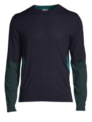 Colorblock Wool & Silk Henley Sweater