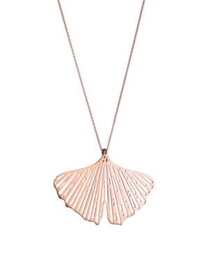 GINETTE NY Gingko 14K Rose Gold Cut-Out Pendant Necklace