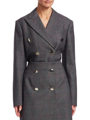 Glen Plaid Wool Double Breasted Coat