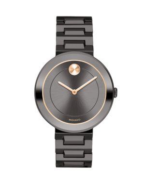 Mid-Size Bold Gunmetal Stainless Steel Watch