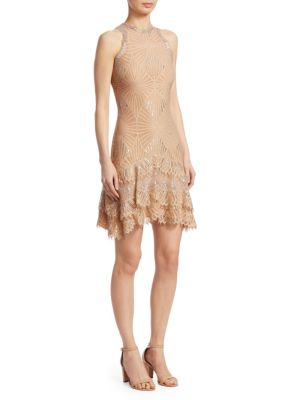 Sheer Metallic Tiered Mini Dress