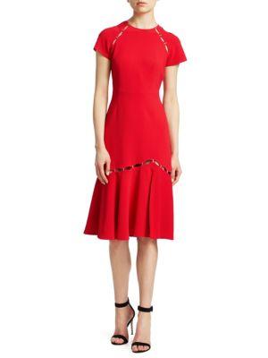 Cut-out Flounce Hem Sheath Dress