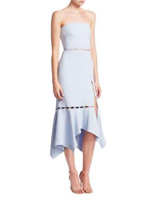 Crop Strapless Slit Flounce Dress
