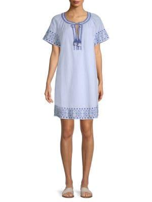 Sea Spray Stripe Tassel Cotton Dress