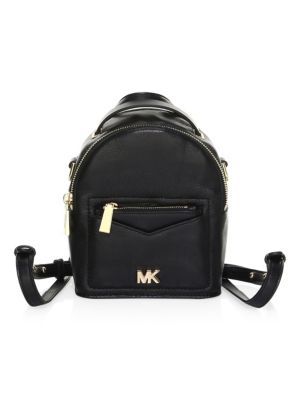 X-SMALL CONVERTIBLE LEATHER BACKPACK - BLACK