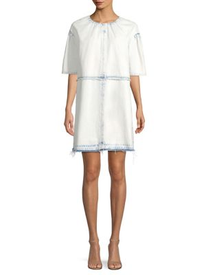 SHORT-SLEEVE DENIM SHIRT DRESS