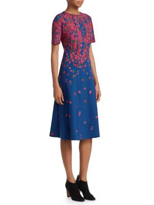 Floral Neoprene A-Line Dress