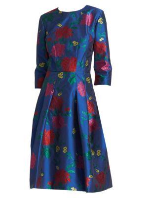 Three-Quarter Sleeve Flare Dress