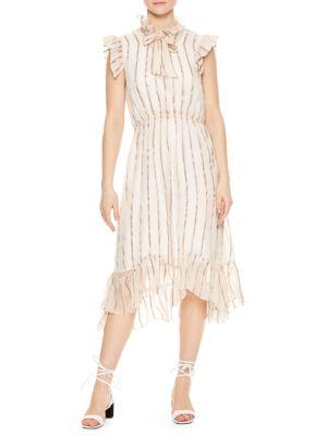 Cuba to Paris Maki Sheer Overlay Silk Dress