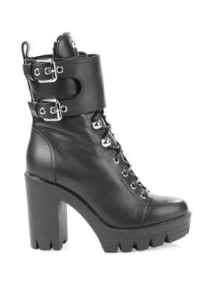 Lace-Up Fur & Leather Combat Boots