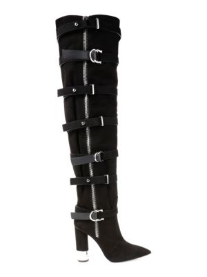 Crudela Suede Over-The-Knee Buckle Boots