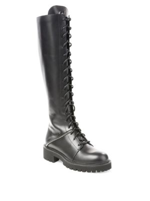 Tall Leather Combat Boots