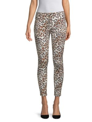JEN7 BY 7 FOR ALL MANKIND SUNKISSED ANIMAL-PRINT ANKLE SKINNY JEANS