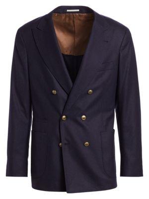 Double-Breasted Wool-Blend Peak Blazer