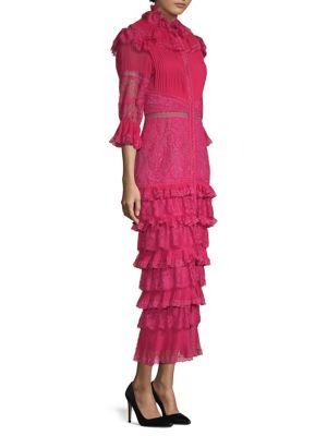Ruffled Lace Midi Dress by Alice + Olivia